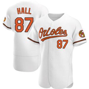 Men's Baltimore Orioles Adam Hall Authentic White Home Jersey