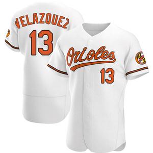Men's Baltimore Orioles Andrew Velazquez Authentic White Home Jersey