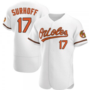 Men's Baltimore Orioles Bj Surhoff Authentic White Home Jersey