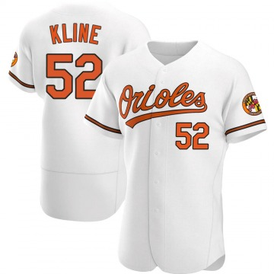 Men's Baltimore Orioles Branden Kline Authentic White Home Jersey