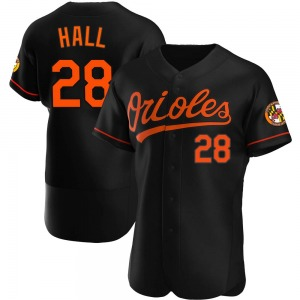 Men's Baltimore Orioles DL Hall Authentic Black Alternate Jersey