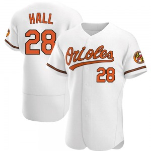 Men's Baltimore Orioles DL Hall Authentic White Home Jersey