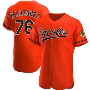 Men's Baltimore Orioles Hector Velazquez Authentic Orange Alternate Jersey