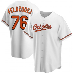Men's Baltimore Orioles Hector Velazquez Replica White Home Jersey