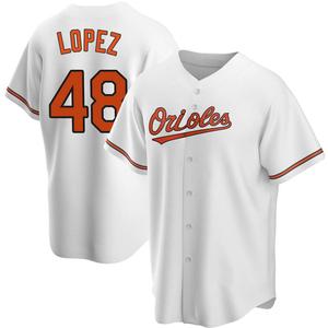 Men's Baltimore Orioles Jorge Lopez Replica White Home Jersey
