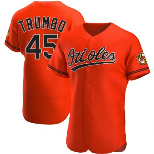 Men's Baltimore Orioles Mark Trumbo Authentic Orange Alternate Jersey