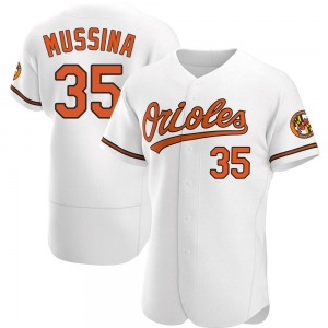 Men's Baltimore Orioles Mike Mussina Authentic White Home Jersey