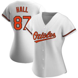 Women's Baltimore Orioles Adam Hall Authentic White Home Jersey