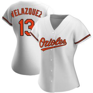 Women's Baltimore Orioles Andrew Velazquez Replica White Home Jersey
