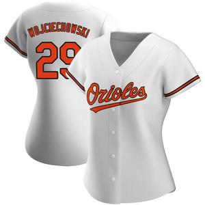 Women's Baltimore Orioles Asher Wojciechowski Replica White Home Jersey