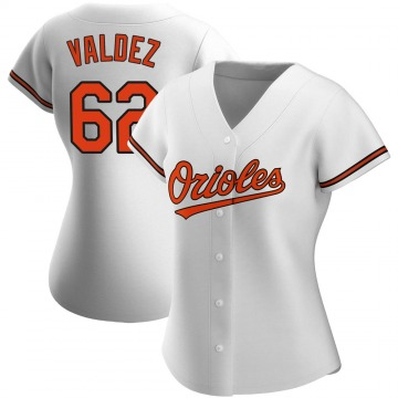 Women's Baltimore Orioles Cesar Valdez Authentic White Home Jersey