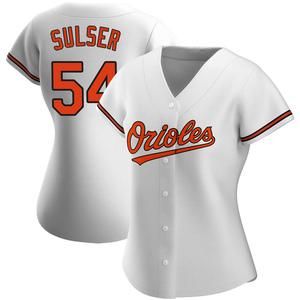 Women's Baltimore Orioles Cole Sulser Authentic White Home Jersey