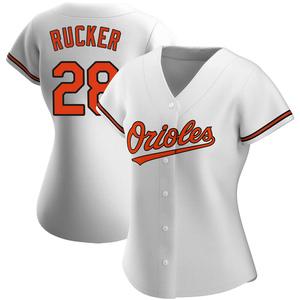 Women's Baltimore Orioles Michael Rucker Replica White Home Jersey