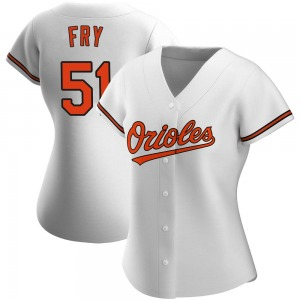 Women's Baltimore Orioles Paul Fry Authentic White Home Jersey