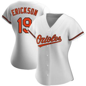 Women's Baltimore Orioles Scott Erickson Replica White Home Jersey