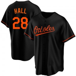 Youth Baltimore Orioles DL Hall Replica Black Alternate Jersey