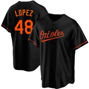 Youth Baltimore Orioles Jorge Lopez Replica Black Alternate Jersey