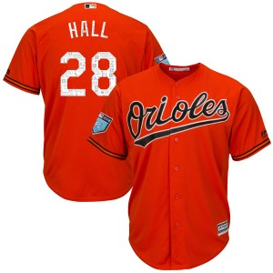 Men's Majestic Baltimore Orioles DL Hall Replica Orange Cool Base 2018 Spring Training Jersey