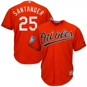 Men's Majestic Baltimore Orioles Anthony Santander Replica Orange Cool Base 2018 Spring Training Jersey