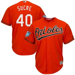 Men's Majestic Baltimore Orioles Jesus Sucre Replica Orange Cool Base 2018 Spring Training Jersey
