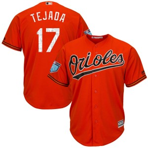 Men's Majestic Baltimore Orioles Ruben Tejada Replica Orange Cool Base 2018 Spring Training Jersey