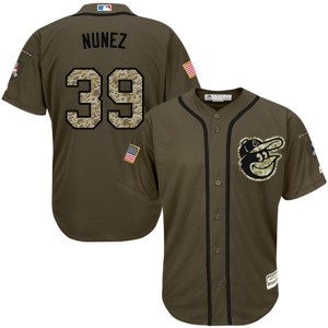 Men's Majestic Baltimore Orioles Renato Nunez Authentic Green Salute to Service Jersey