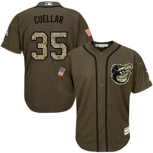 Youth Majestic Baltimore Orioles Mike Cuellar Replica Green Salute to Service Jersey