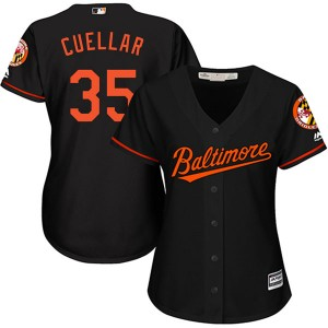 Women's Majestic Baltimore Orioles Mike Cuellar Replica Black Cool Base Alternate Jersey