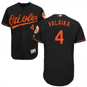 Youth Majestic Baltimore Orioles Pat Valaika Authentic Black Flex Base Alternate Collection Jersey