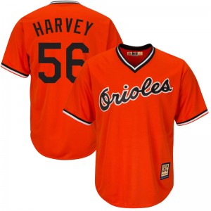 Youth Majestic Baltimore Orioles Hunter Harvey Replica Orange Cool Base Alternate Jersey