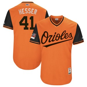 "Youth Majestic Baltimore Orioles David Hess Authentic Orange/Black ""HESSER"" 2018 Players' Weekend Flex Base Jersey"
