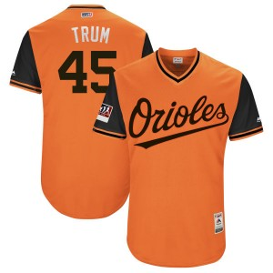"Men's Majestic Baltimore Orioles Mark Trumbo Authentic Orange/Black ""TRUM"" 2018 Players' Weekend Flex Base Jersey"
