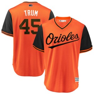 "Youth Majestic Baltimore Orioles Mark Trumbo Replica Orange/Black ""TRUM"" 2018 Players' Weekend Cool Base Jersey"