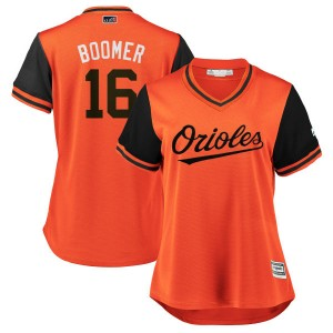 "Women's Majestic Baltimore Orioles Trey Mancini Replica Orange/Black ""BOOMER"" 2018 Players' Weekend Cool Base Jersey"