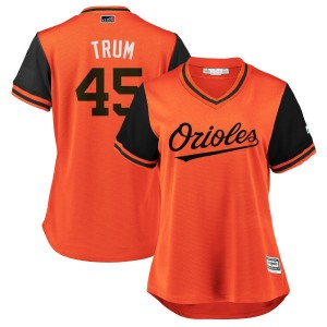 "Women's Majestic Baltimore Orioles Mark Trumbo Replica Orange/Black ""TRUM"" 2018 Players' Weekend Cool Base Jersey"