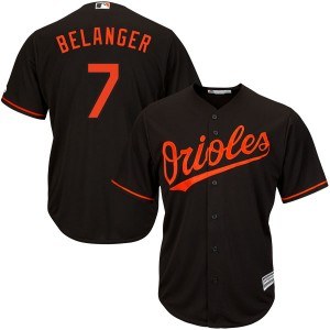 Youth Majestic Baltimore Orioles Mark Belanger Replica Black Cool Base Alternate Jersey