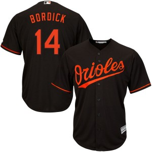 Youth Majestic Baltimore Orioles Mike Bordick Replica Black Cool Base Alternate Jersey