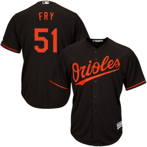 Youth Majestic Baltimore Orioles Paul Fry Replica Black Cool Base Alternate Jersey