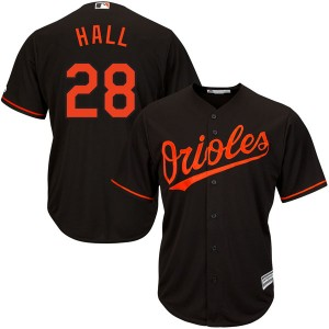 Youth Majestic Baltimore Orioles DL Hall Replica Black Cool Base Alternate Jersey