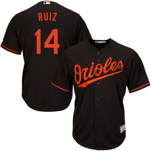 Youth Majestic Baltimore Orioles Rio Ruiz Replica Black Cool Base Alternate Jersey
