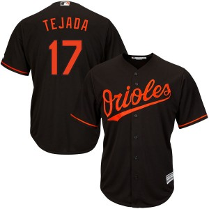 Youth Majestic Baltimore Orioles Ruben Tejada Replica Black Cool Base Alternate Jersey