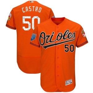 Youth Majestic Baltimore Orioles Miguel Castro Authentic Orange Flex Base 2018 Spring Training Jersey