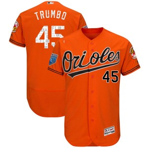 Youth Majestic Baltimore Orioles Mark Trumbo Authentic Orange Flex Base 2018 Spring Training Jersey
