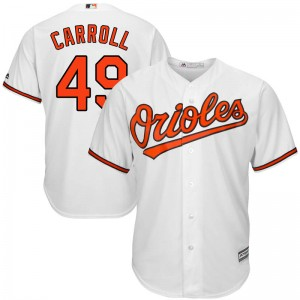 Men's Majestic Baltimore Orioles Cody Carroll Replica White Cool Base Home Jersey