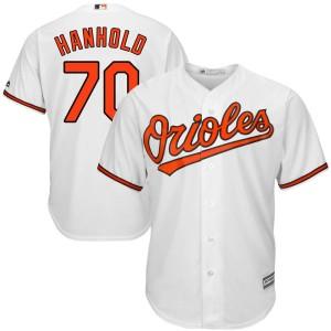 Men's Majestic Baltimore Orioles Eric Hanhold Replica White Cool Base Home Jersey