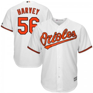 Men's Majestic Baltimore Orioles Hunter Harvey Replica White Cool Base Home Jersey