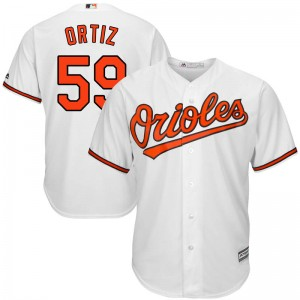 Men's Majestic Baltimore Orioles Luis Ortiz Replica White Cool Base Home Jersey