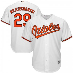 Men's Majestic Baltimore Orioles Asher Wojciechowski Replica White Cool Base Home Jersey