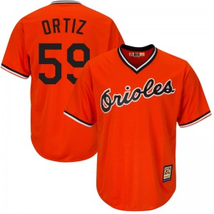 Men's Majestic Baltimore Orioles Luis Ortiz Replica Orange Cool Base Alternate Jersey