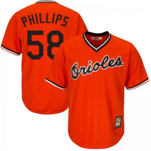 Men's Majestic Baltimore Orioles Evan Phillips Replica Orange Cool Base Alternate Jersey